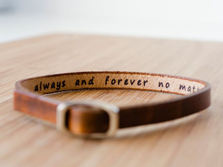 Brown leather anniversary bracelet gift with hidden message
