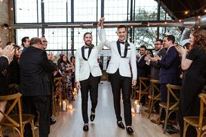 Modern Same-Sex Recessional with Grooms in White Tuxedo Jackets