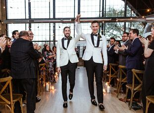 Trent Compton and Todd Scheff tied the knot at Ravenswood Event Center, a vintage car and neon sign warehouse in Chicago. They started the day by gett