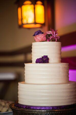 Fresh Flowers on Tiered Wedding Cake