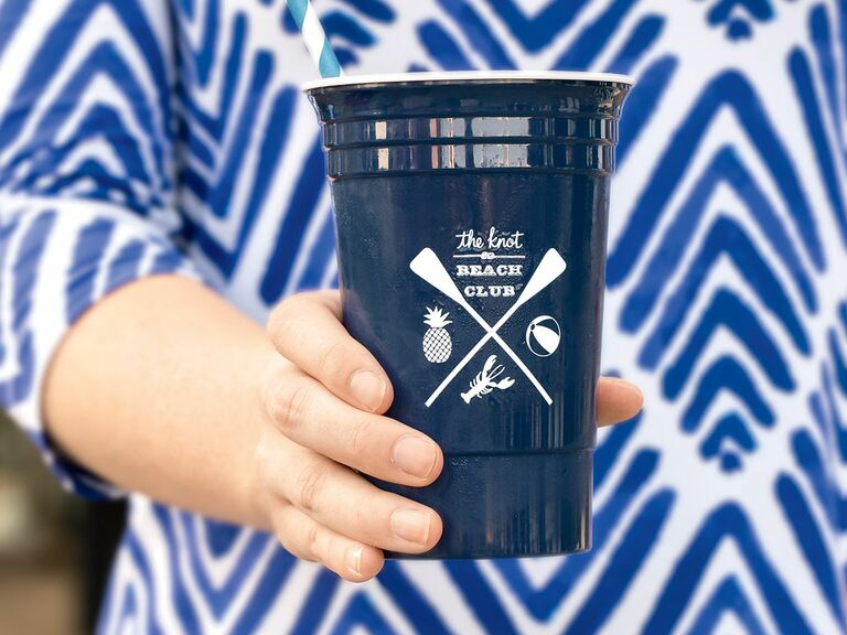 Custom logo cups for a wedding cocktail hour
