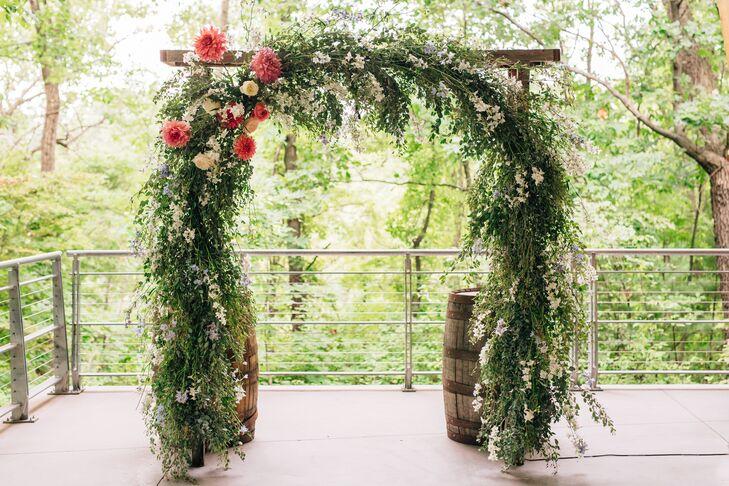 Lush Garland Wedding Arch with Pink Dahlias