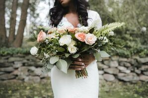 Rose-and-Eucalyptus Bouquet for Wedding at Dunaway Gardens in Newnan, Georgia