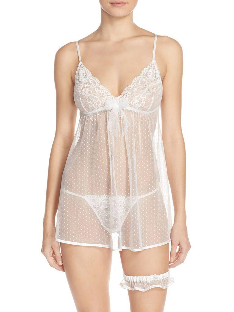 Sheer white bridal lingerie set