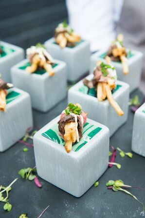 Steak and Fries Bites Served on Individual Square Platforms
