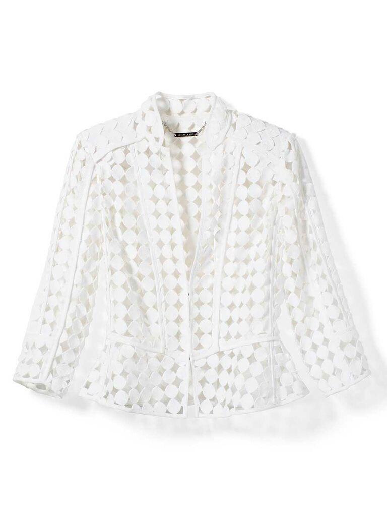 Lattice white wedding jacket