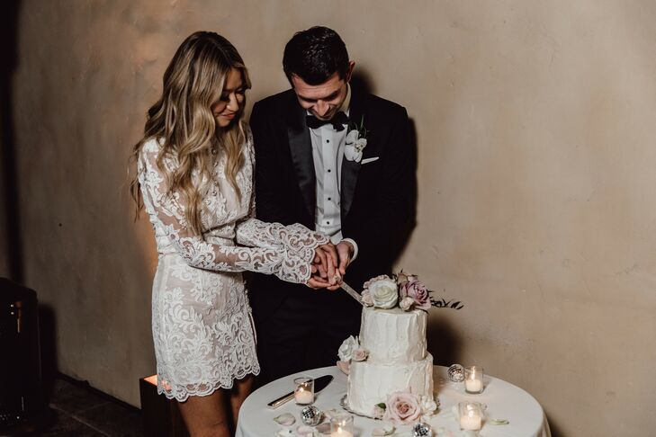 Couple Cutting the Cake During Wedding at Tehama Golf Club in Carmel-By-The-Sea, California