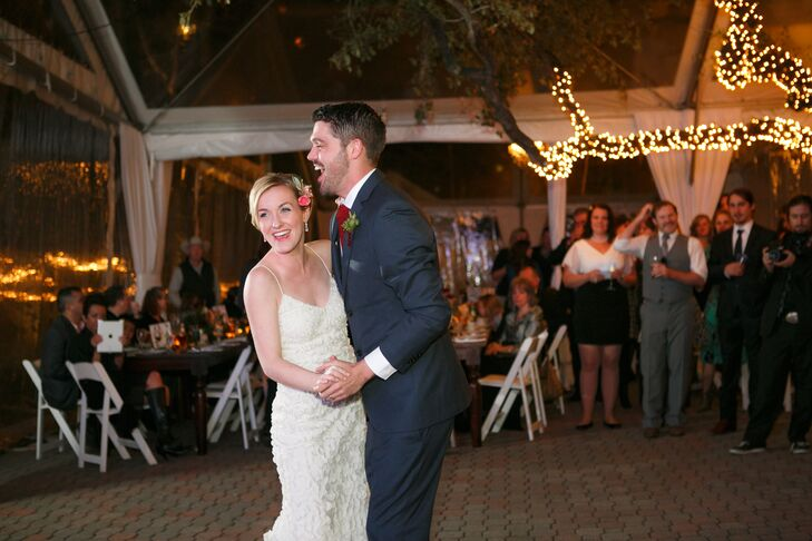 """One of Faith and Jackson's favorite bands, the Preservation, performed at their tented reception at the Allan House in Austin, Texas. Their first dance song was """"I Will"""" by the Beatles."""