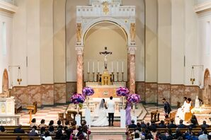 Minimal Church Ceremony with Purple and Pink Floral Arrangements at Saint Anthony