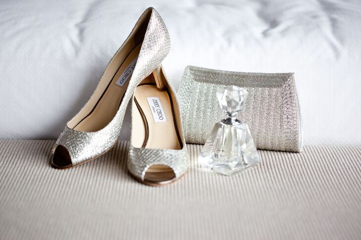 Silver Jimmy Choo Bridal Shoes and Sparkly Clutch