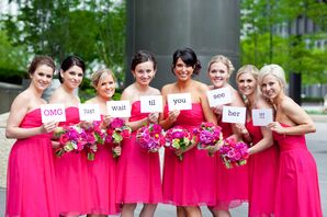 Short, Bright Pink, Strapless Bridesmaid Dresses and Message for Groom
