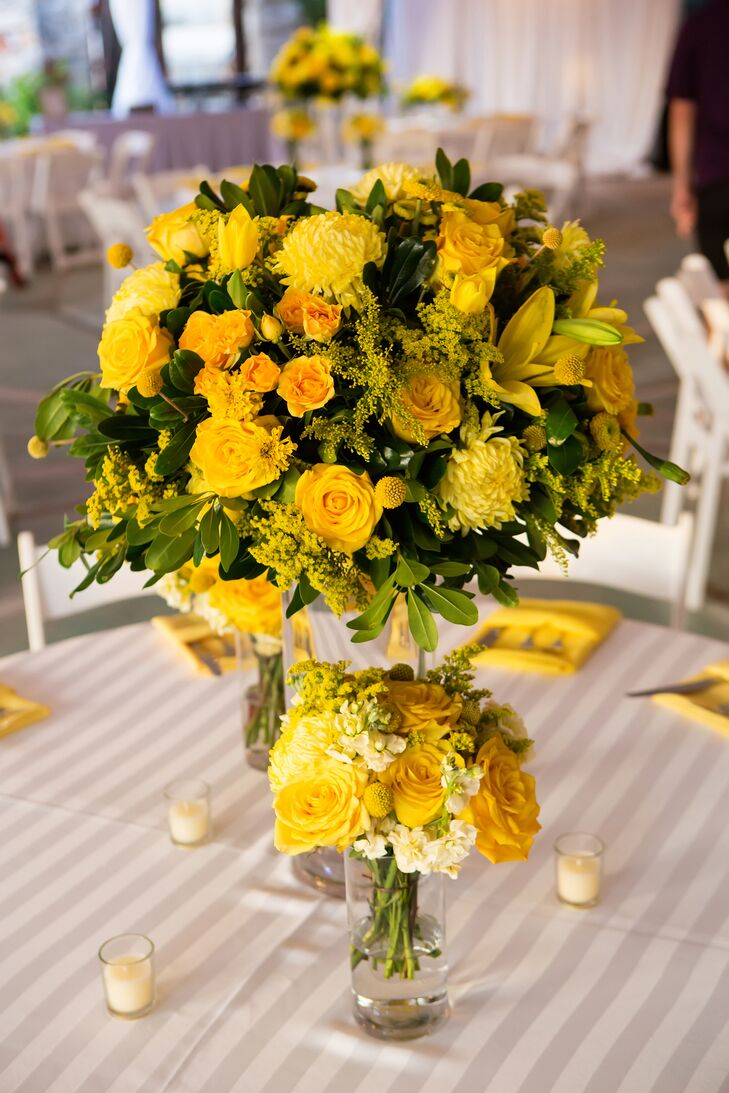 """""""I love yellow roses, so we incorporated a lot of those, as well as marigolds, since we got married on the Dia de los Muertos,"""" says the bride."""