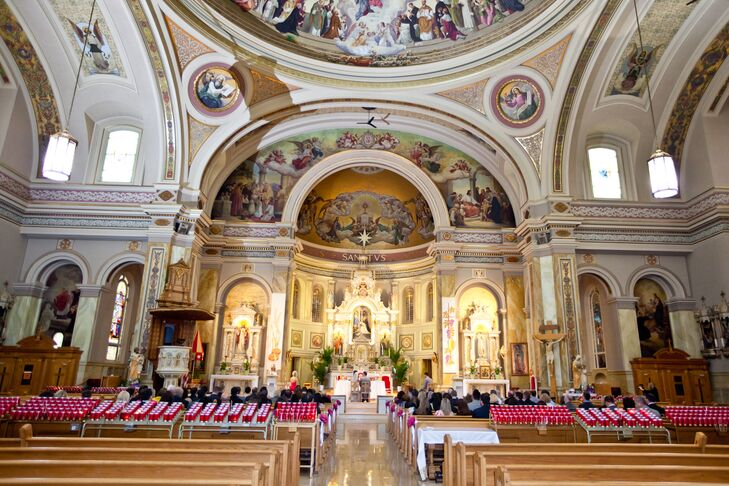 """Teresa got married at St. Hyacinth Basilica, the same church she attended mass with her grandmother and her mother got married at thirty-five years ago. """"Since St. Hyacinth has such a meaningful history in my life, plus its grand and ornate features, I knew this was the church I wanted to get married in,"""" Teresa says."""