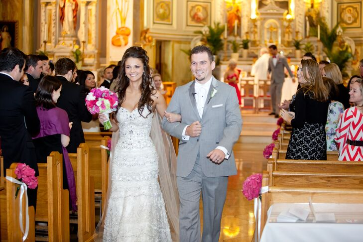 Bride and Groom Leave St. Hyacinth Basilica Church Ceremony