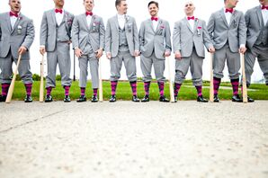 Gray Groomsmen in Pink Bow Ties, Boutonnieres, and Socks