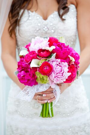Bright Pink Peony, Cala Lily, and Ranunculus Bouquet