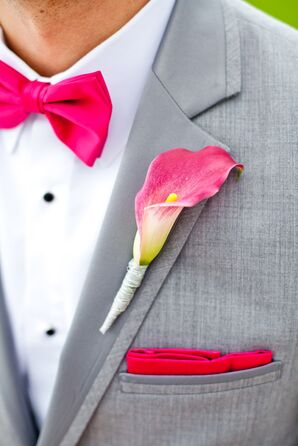 Gray Suit with Pink Bow Tie, Pocket Square, and Calla Lily Boutonniere