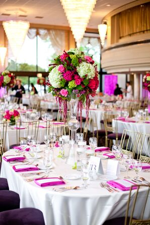 Tall Bright Pink and Green Centerpieces with Roses and Hydrangeas