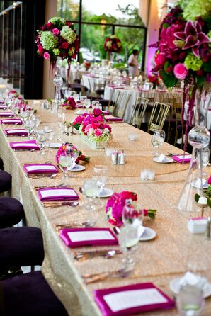 Sparkly Gold Reception Table with Pink and Green Centerpieces and Pink Napkins