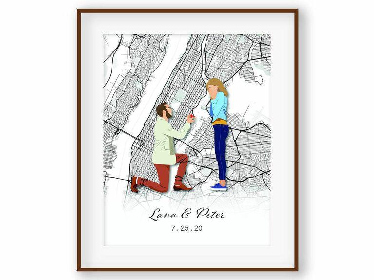 custom couple portrait and map