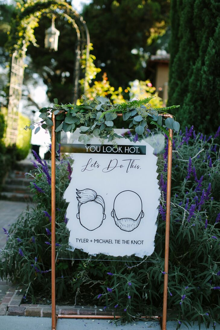 Illustrated Wedding Sign at Paramour Estate in Los Angeles