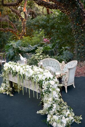 Sweetheart Table with Velvet Chaise and Floral Runner