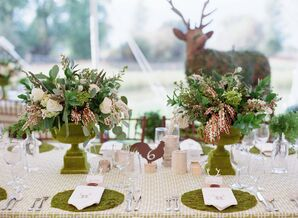 Rustic Tablescape With Live Moss Place Setting
