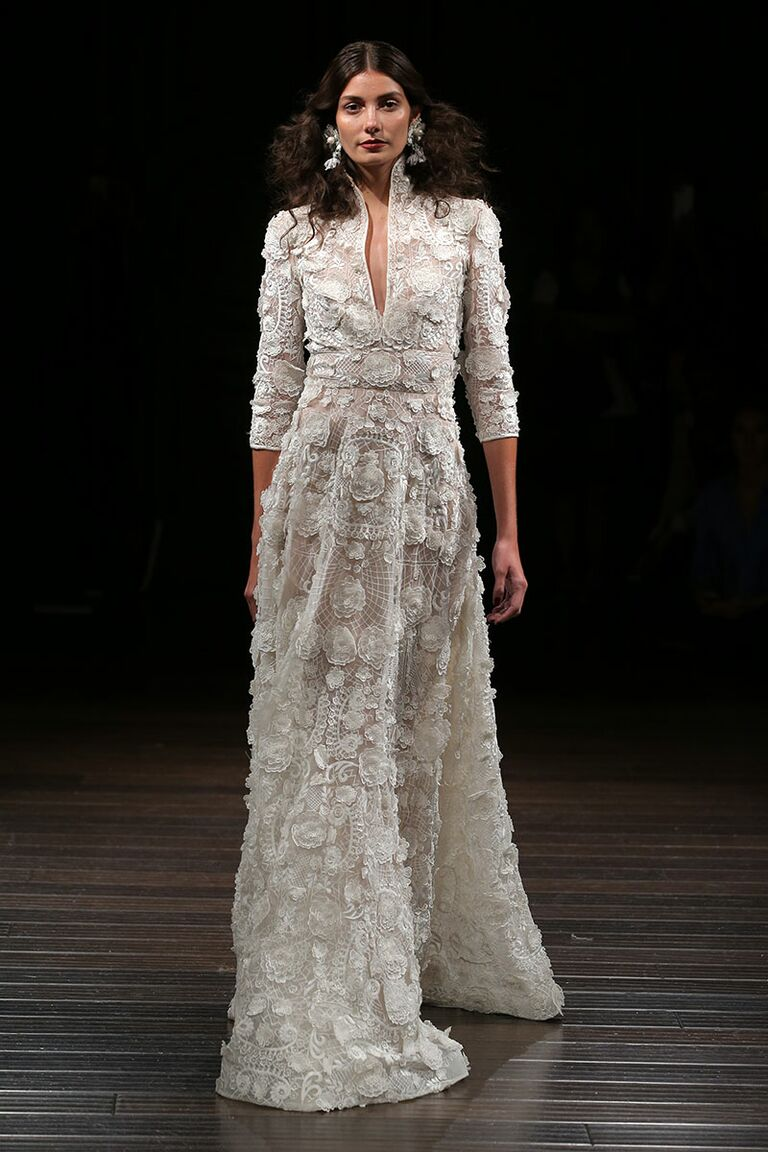 Naeem Khan Fall 2017 Floral Appliqué Collared 3/4 Sleeve Wedding Dress