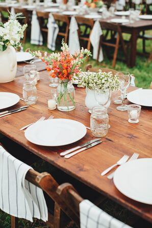 Rustic Country Dinner Tables and Wildflower Centerpieces