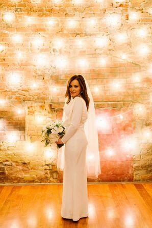 Long-Sleeve Custom Wedding Dress With Veil