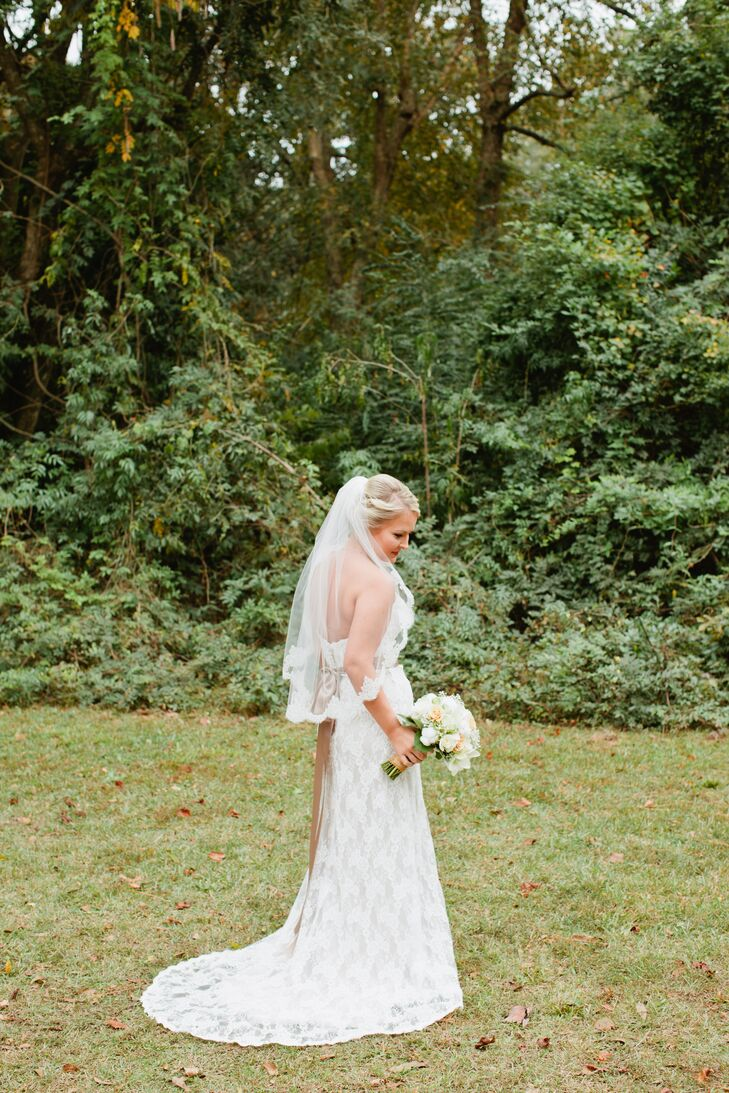 Bride With Lace Embroidered Veil