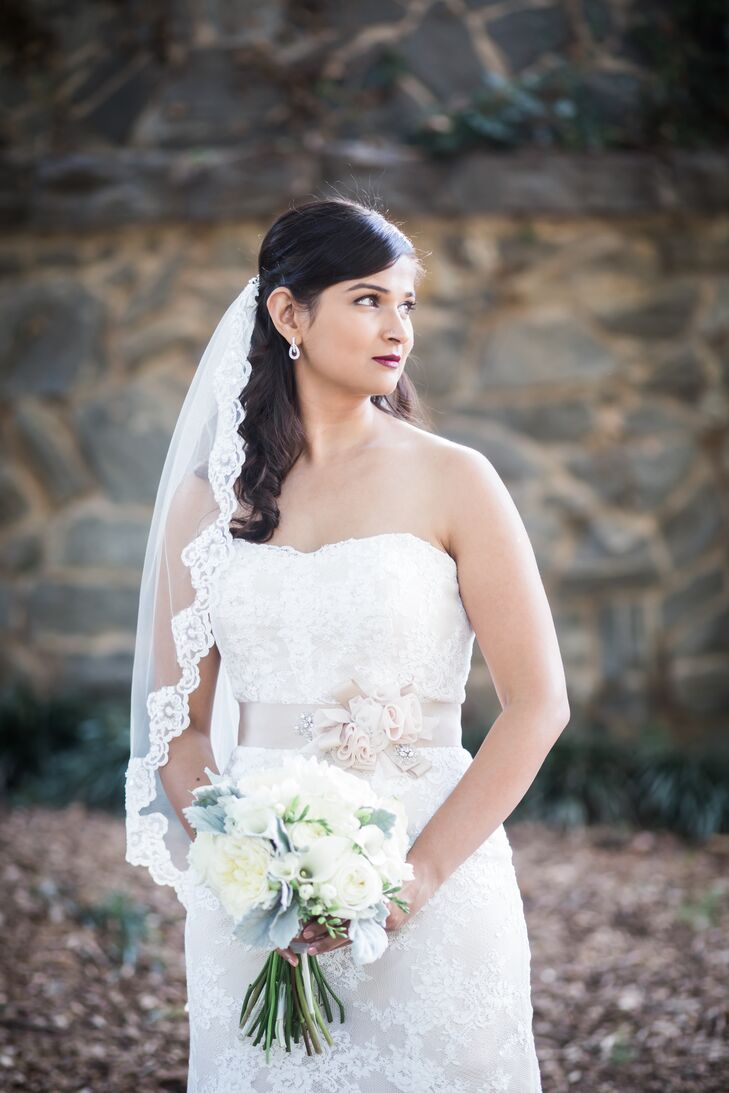 Aparna's gown was classic and traditional, made with French lace and paired with a romantic lace veil.