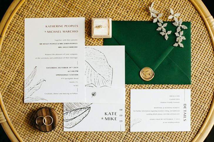 Modern Invitations with Feather Design and Typography