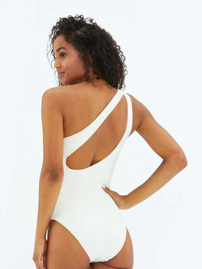 One-shoulder white bridal swimsuit
