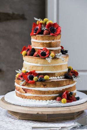 Lemon Raspberry Cake Accented With Flowers