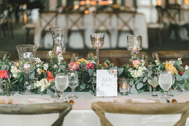 Garden,Inspired Lush Garland Wedding Reception Centerpieces