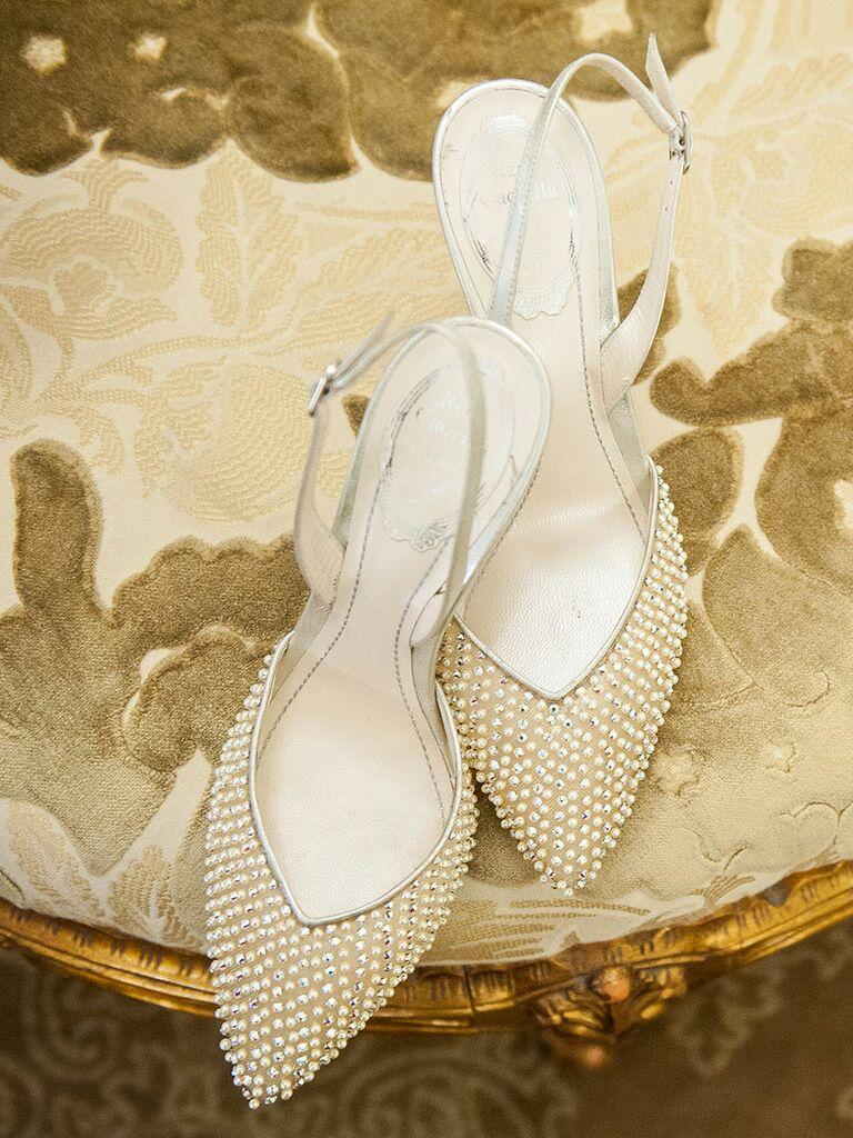 Pearl wedding shoes high heels