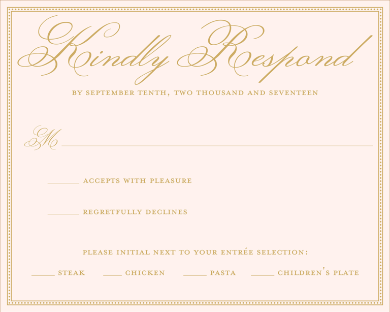 sample rsvp wedding card
