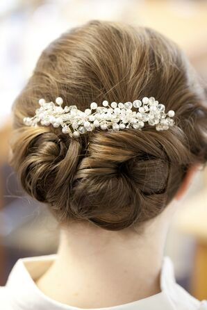 Elegant Braided Updo with Pearl Hair Comb