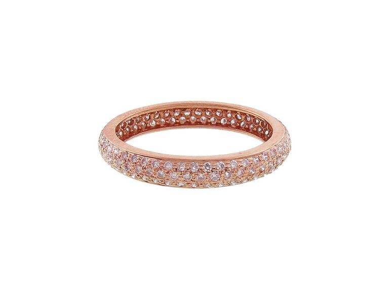 Sethi Couture wide pavé pink diamond ring in rose gold