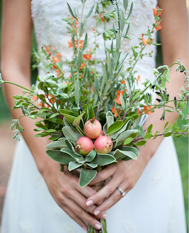Pretty bridal wedding bouquet with greenery