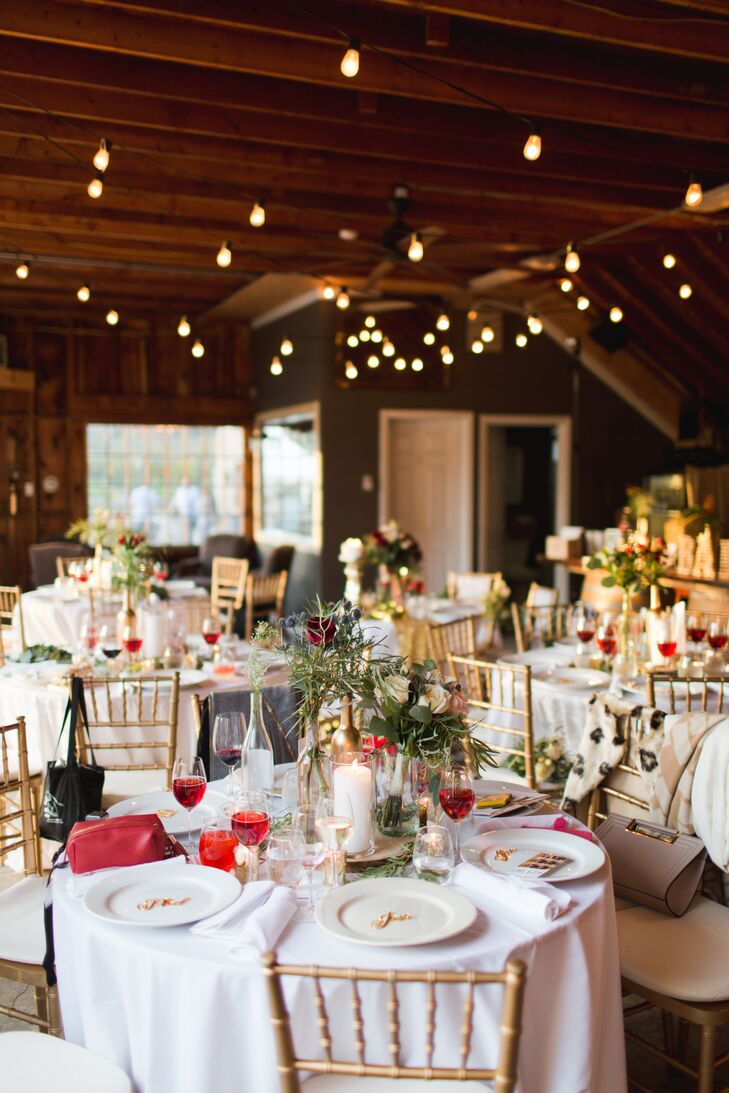 Rustic Reception Space with String Lights