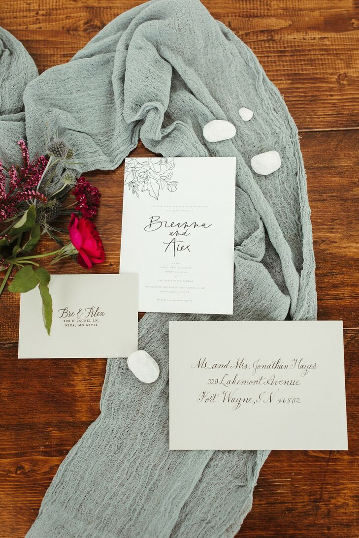 Classic Neutral Invitation Suite with Calligraphy