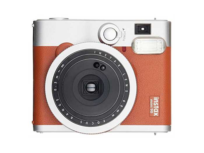 brown and silver Instax instant-print camera