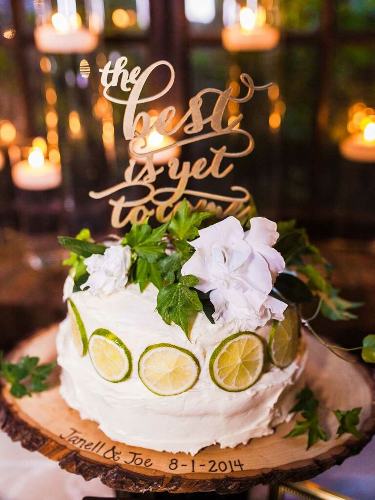 Small key lime wedding cake