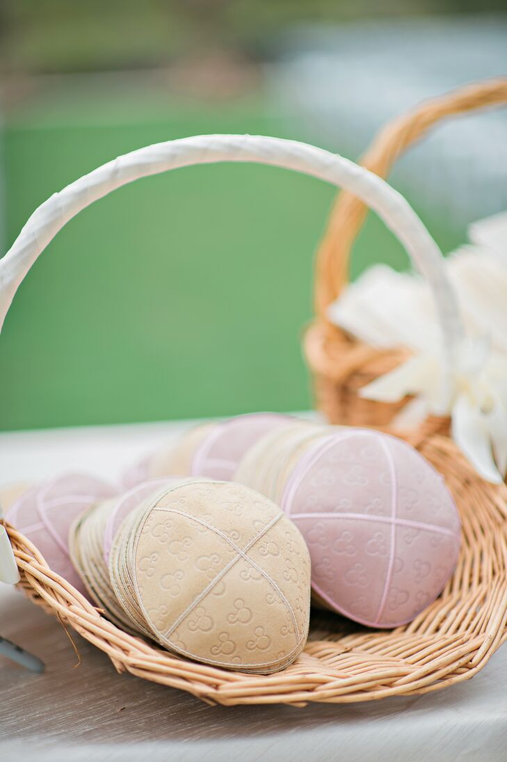 Pastel Kippahs in Basket