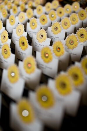 Sunflower Escort Cards at Summer Wedding