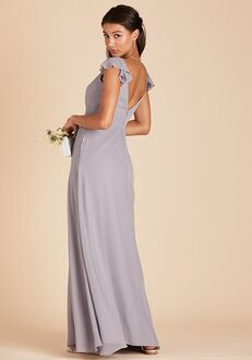 Birdy Grey Kae Bridesmaid Dress in Silver V-Neck Bridesmaid Dress
