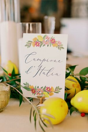 Italian-Inspired Illustrated Table Name Sign