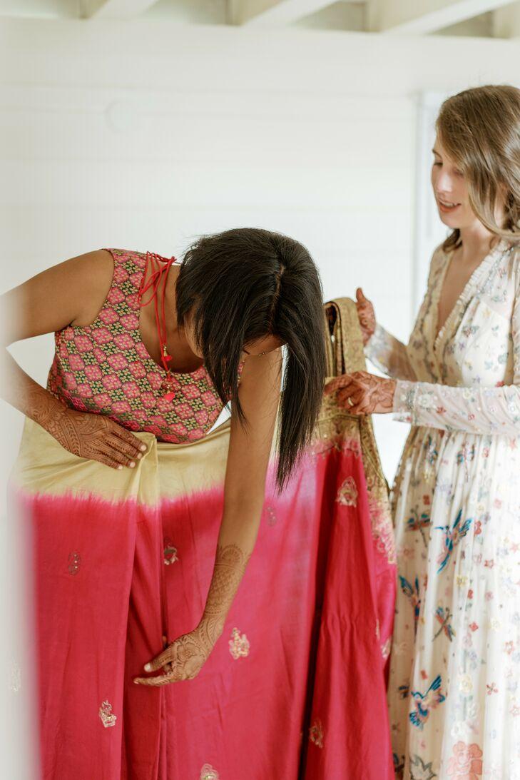 Bride Getting Dressed in Indian Sari